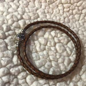 Pandora brown braided double bracelet!